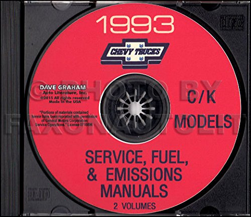 1993 CHEVROLET TRUCK & PICKUP FACTORY REPAIR SHOP & SERVICE MANUAL CD Includes C/K Trucks, Silverado, Cheyenne, Suburban, Blazer, Regular, Crew & Extended Cab 1500, 2500, 3500