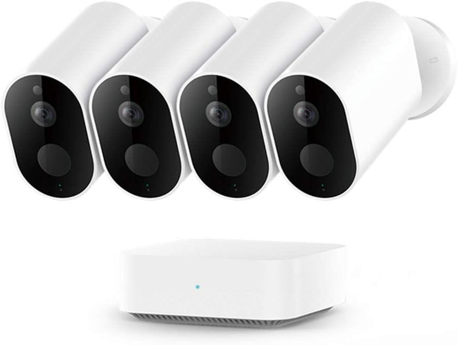 IMILAB Cámara HD EC2, WiFi inalámbrica 1080P seguridad en el hogar PIR IP65 impermeable al aire libre visión nocturna cámara de vigilancia con puerta de enlace (4 piezas con pasarela)