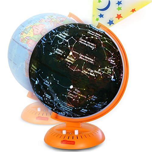 Little Experimenter Globe for Kids: 3-in-1 World Globe with Stand - Illuminated Star Map and Built-in Projector, 8""