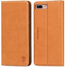 SHIELDON iPhone 8 Plus Case, iPhone 7 Plus Case, Genuine Leather iPhone 8 Plus Wallet Case Book Design with Flip Cover and Credit Card Slot Magnetic Closure Compatible with iPhone 7 Plus - Brown