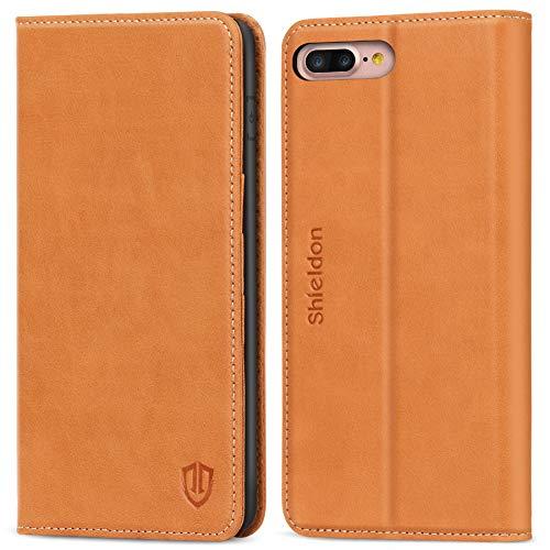 SHIELDON Hülle für iPhone 8 Plus, Klappbare Stoßfeste Magnetische Handyhülle [Erstklassigem Rindsleder] [Lifetime Garantie] [Standfunktion], TPU Lederhülle Handytasche für iPhone 7/8 Plus 5,5 Braun