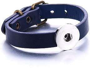 Handmadewovenbracelets,Sanmuxiaozi Blue Snap Button Bracelet Bangle Snap Leather Bracelet Retro Handmade Braided Leather Bracelet Fit 18Mm Snap Buttons Jewelry