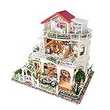 FFYUGO DIY Puppenhaus, 3D-Gewächshaus Bastelset Puppenhaus mit Möbeln und Accessoires...