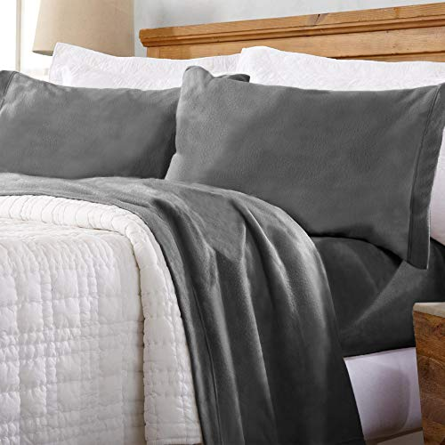 Home Fashion Designs Maya Collection Super Soft Extra Plush Polar Fleece Sheet Set. Cozy, Warm, Durable, Smooth, Breathable Winter Sheets in Solid Colors. By Brand. (Twin XL, Charcoal)