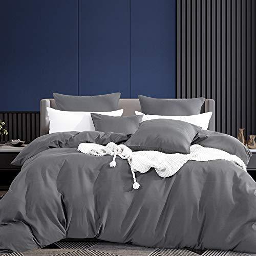 Aisbo Bettwäsche 200x200 grau 4 teilig Superweiches Mikrofaser bettwäsche-Sets - 1 Bettbezüge 200 x 200 mit Reiverschluss + 2 Kissenbezge 80 x 80 cm Winter Bettwäsche
