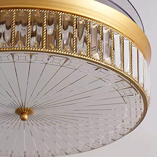 FHUA Lampadario Moderno Crystal Techo Ventilador Luz Luz Lujo Invisible Fan Light Restaurant Fan Light Dormitorio Ventilador Araña Decoración