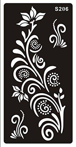 Mehndi Tatouage Pochoir pour le corps Mehndi Tatouages au henné - à usage unique S206 - pour tatouage au henné, tatouage paillettes et aérographe tatouage