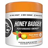 Honey Badger Vegan Keto Pre Workout | Peach Mango | Natural Paleo Sugar Free Pump Energy Supplement Nootropics Amino Acids Nitric Oxide Sucralose Free + Non-Habit Forming | 30 Servings