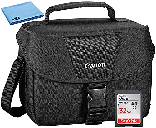 Canon 100ES Well Padded Multi Compartment Compact Digital SLR EOS Rebel Camera Gadget Case + 32GB High Speed Memory Card + Cloth for 77D, T6s, T7i, T6i, T5i, SL1, T7, T6, T5, 70D, 80D & 6D