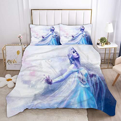 Juego de ropa de cama 3D Frozen funda nórdica + funda de almohada, microfibra, cremallera, adolescentes, niños, niñas, ropa de cama infantil (4,135 x 200 cm (80 x 80 cm)