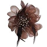 XZFCBH Tela Arte Pluma Grande Tela Flor Broche para Mujer Ramillete Solapa alfileres y broches Ropa Accesorios café