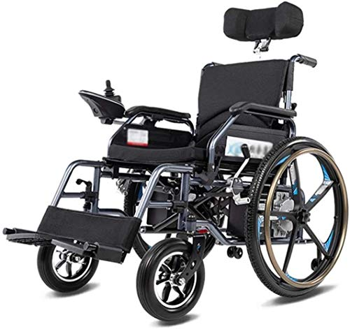 Silla de Ruedas eléctrica Plegable, Silla de ruedas eléctrica silla de ruedas eléctrica plegable, plegable eléctrico pequeño Mobile Assisted silla de ruedas, de gran alcance con dos motores de ruedas,