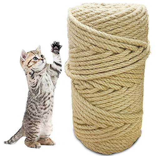 PEIPONG Sisalseil, Sisalseil für Kratzbaum, Natural Sisal Seil, Katzen Zubehör Kratzbaum, Sisalseil kann für Hausgartendekoration Kunsthandwerk und Katzenzubehör verwendet Werden (50M)