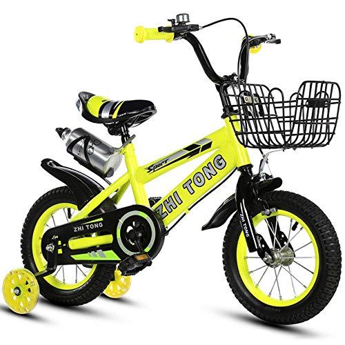 LDDLDG - Bicicleta infantil con ruedas de apoyo para niños y niñas, estilo libre, 12, 14, 16 y 18 pulgadas con rueda de apoyo, color amarillo, tamaño: 14 pulgadas