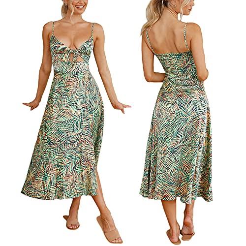 Vestido con Estampado de Tirantes Finos de Verano para Mujer, con Cuello en V, Nudo Frontal, sin Mangas, Vestido Recortado, Vestidos divididos (Green Floral, Large)