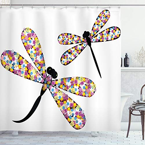 Ambesonne Modern Shower Curtain, Butterfly and Dragonflies with Colorful Alluring Wings and Black Silhouettes Print, Cloth Fabric Bathroom Decor Set with Hooks, 84' Long Extra, Lavender Black