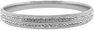 Bevilles Stainless Steel Pave Crystal Bangle