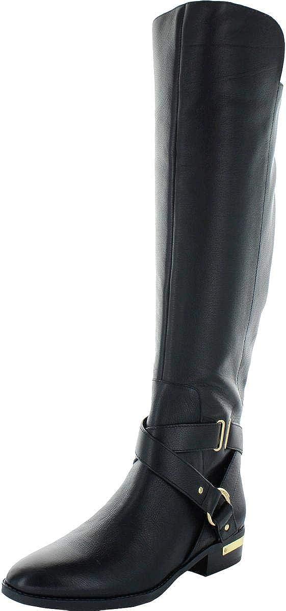 Vince Camuto Womens Preshent Leather Knee-High Riding Boots Black 7 Medium (B,M)