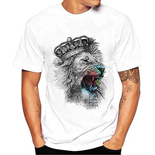 Homme T-Shirt Imprimé Blouse Tee-Shirt Homme Col Rond Haut Homme Casual T-Shirt à Manches Courtes WINJIN pour Homme Unie Blanc Floral Imprimé T-Shirt Homme Top