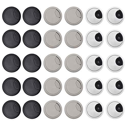 Qixuer 30 Piezas Pasacables Redondo Tapa,50 mm Organizadores de Alambre de Plástico...