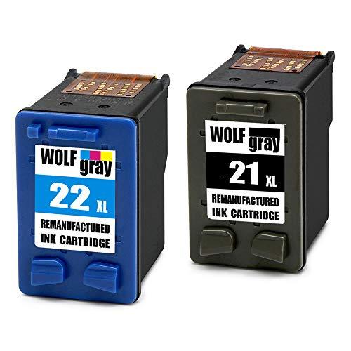 Wolfgray 21XL 22XL Remanufacturado para HP 21 XL 22 XL Cartuchos de tinta (1...