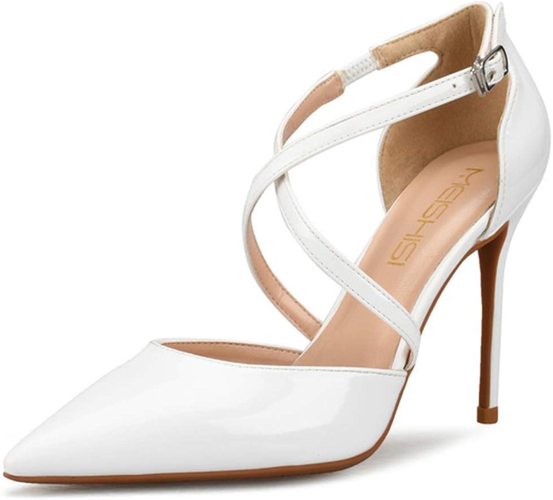 Women's Large Size High Heel Sandals 10cm Patent Leather Gum Rubber Sole Stiletto Pumps Ladies Fashion Pointed Toes Ankle-Strap Sandals(32-42EU,l06-q10)