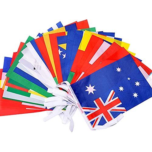 Bandiere Nazionali di 100 Paesi Stamina Bandiera del Mondo 14 * 21cm, Decorazioni per Bar, Ristoranti, Grande Apertura, Celebrazioni Sportive Internazionali (25 Metri)