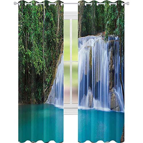 Cortinas opacas, aislamiento de juntas, piscina oculta en Forest Rocky Brook imagen de follaje, 52 x 72 cortinas para sala de estar, color verde turquesa