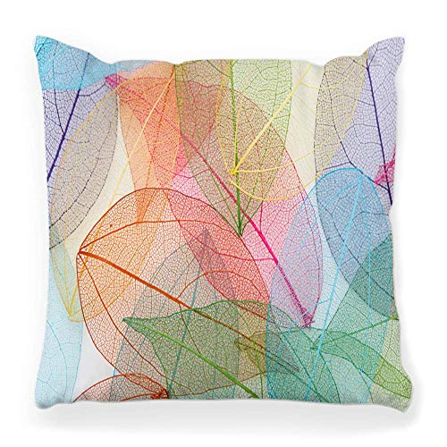 Funda de Cojine Cobertor de almohada Decorativo Diseño Fondos Grupo de objetos Hoja Macro Nervio Primer plano Seco Verde Planta Rojo Blanco Throw Cojín 45X45CM