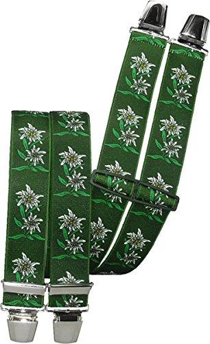 Harrys-Collection Hosenträger mit 4 extra starken Clips Edelweiß 6 Farben!, Farben:grün