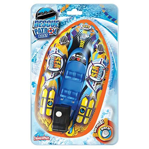 Bote patrulla del rescate del océano del mar. Enrolle para arriba el juguete del baño de Deluxebase. El barco de la diversión con un fácil de utilizar enrolla para arriba el motor. Grande para los niñ