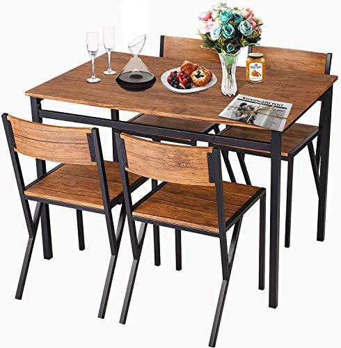Grepatio 5-Piece Wooden Dining Set, Modern Rectangular Dining Table Furniture Set for Kitchen, Breakfast Nook,Dinette - Rustic Brown