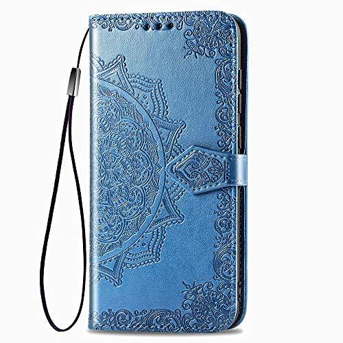 LAGUI Compatible für Motorola One Action Hülle, Schönes Muster Brieftasche Lederhülle (Silikonhülle, 3 Kartenfach, Ständerfunktion, magnetische Verschluss), Blau