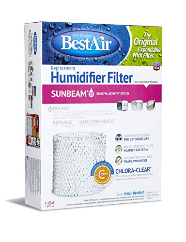 BestAir H64-PDQ-4 Extended Life Humidifier Replacement Paper Wick Humidifier Filter, For Holmes, Sunbeam, Touch Point, White-Westinghouse, Hamilton-Beach & Bionaire Models, 7.2