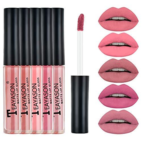 Qhome 5Pcs Frauen Matt Flüssigen Lippenstift Set Wasserdichte Mini Langlebige Lipgloss Antihaft Tasse Lippenstifte Geschenkbox für Mädchen Damen