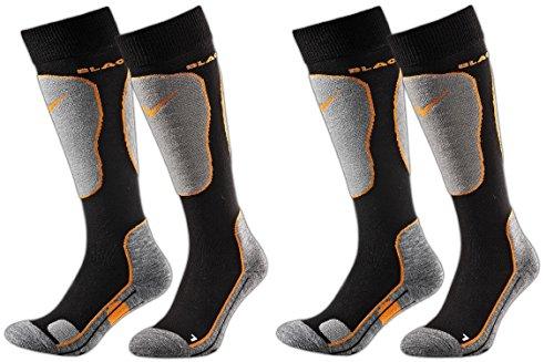 Black Crevice Chaussettes de Ski, Snowboard, avec Fonction et Rembourrage en Lot de 2 Paires, Unisexe, 2 Couleurs Assorties, 3 Tailles Multicolore Noir/Orange 35-38