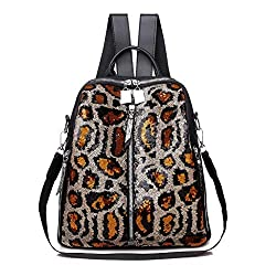 Orange Mini Small Backpack Sequin Texture Leopard Patternv