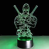 Boy Dormitorio Decoración 3D Led Visual 7 colores Gradientes Deadpool Night Light Mesa Lámpara de es...