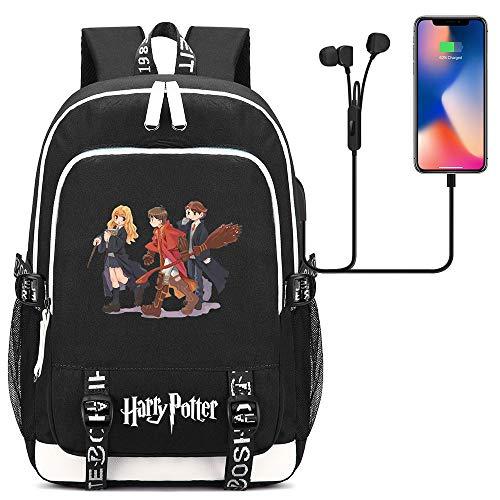 GXB Mochila Harry Potter, Mochila Escolar para jóvenes Bolsa para computadora portátil Unisex de 15.6 Pulgadas con Puerto de Carga USB y Conector para Auriculares Talla única Estilo-5