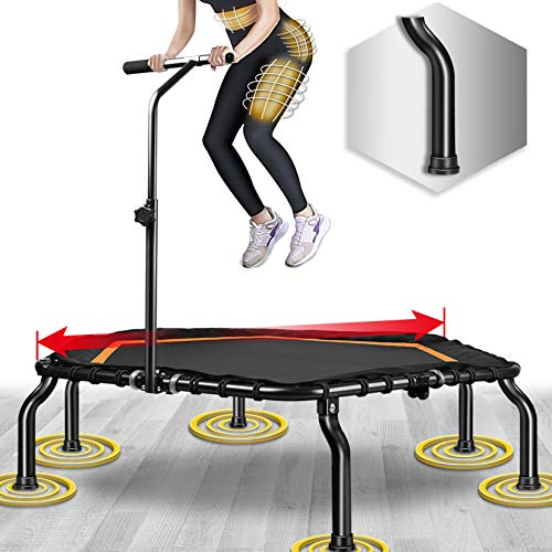 Happy Jump Trampolín, Plegable Cama Elástica Fitness con Mango,Ø 127 cm,Peso Carga Máximo 250lbs