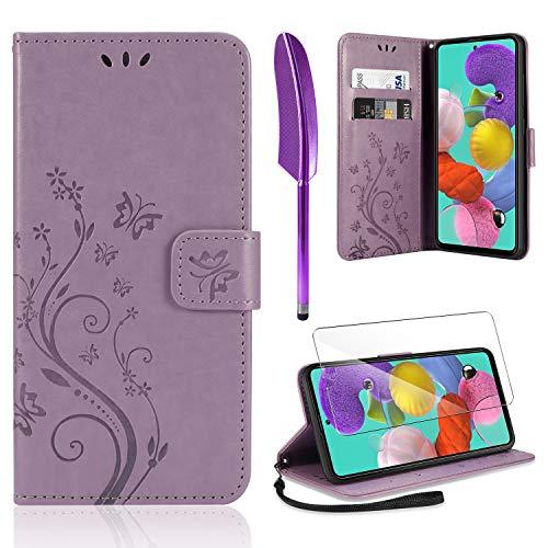 AROYI Lederhülle Samsung Galaxy A51 Hülle + HD Schutzfolie, Samsung Galaxy A51 Flip Wallet Handyhülle PU Leder Tasche Hülle Kartensteckplätzen Schutzhülle für Samsung Galaxy A51 Hellviolett