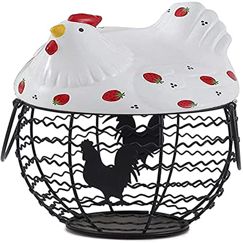 Ghlevo Cesta de huevo de hierro forjado de estilo rural, canasta de almacenamiento de huevos, contenedor de huevo, utilizado para almacenar bocadillos de frutas varias cajas de organización de hogares