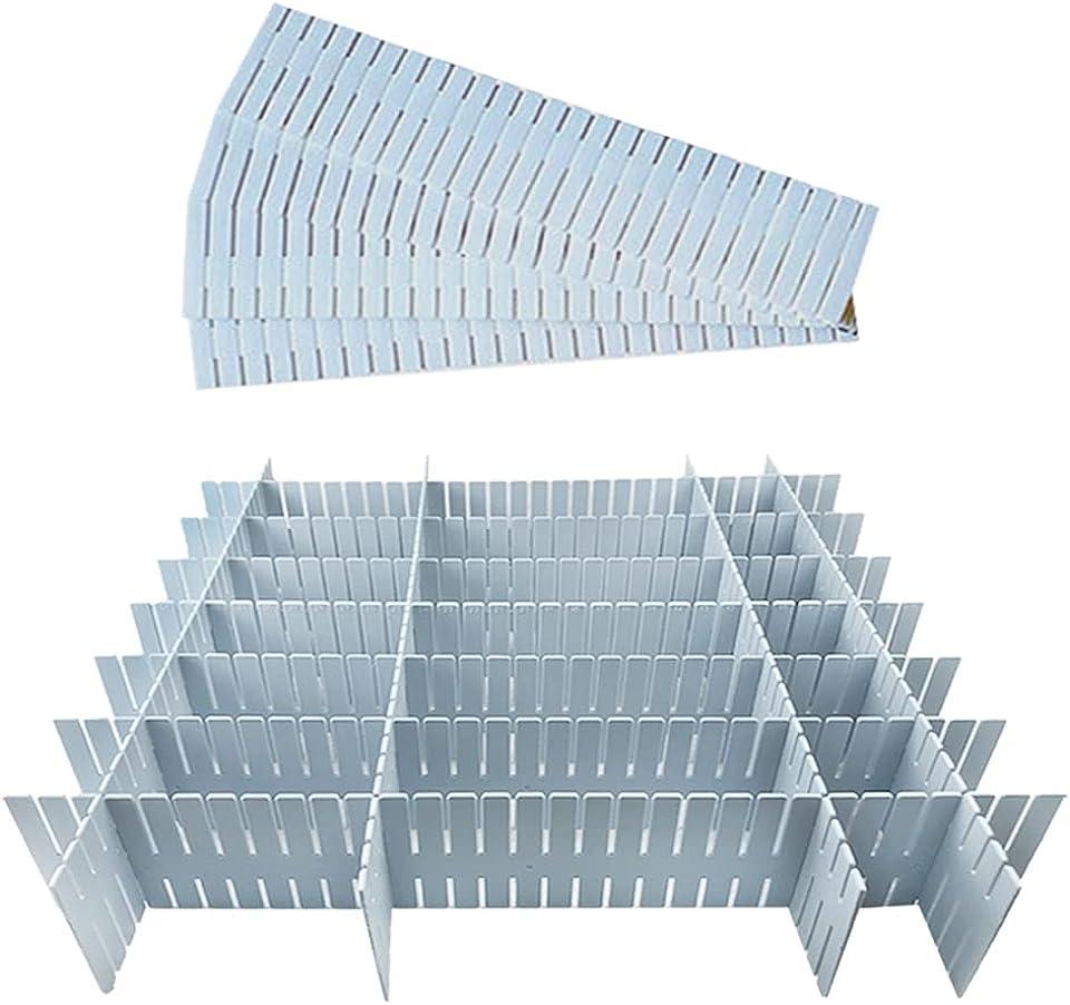 Schubladenteiler, Schubladentrenner, 12 Stück Kunststoff Schubladentrenner Schubladen Organizer Verstellbar, Drawer Dividers Fachteiler, Schubladeneinteiler DIY Schreibtisch Organizer (Blue)