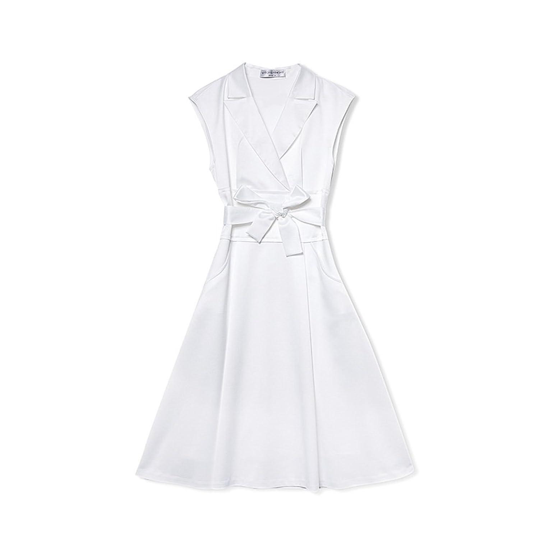 WYYY ドレス 夏の季節 ショートスカート ノースリーブ ポロカラー ポケット 純粋な色 ホワイト セレブリティ シャツドレス イブニングドレス (サイズ さいず : S s)