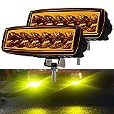 2PCS 6 Inch Work Light Bar, UNI-SHINE Pod Lights LED Fog Lights Yellow Wterproof IP68 For ATV Boat Off Road 4x4 Pickup Golf Cart Backup Truck Motorcycle SUV Tractor (Yellow 2pcs-921H)