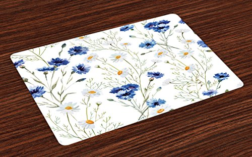 Lunarable Watercolor Flower Place Mats Set of 4, Wildflowers and Cornflowers Daisies Blooms Flower Buds, Washable Fabric Placemats for Dining Table, Standard Size, Green Marigold