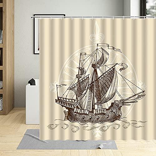 AFDSJJDK duschvorhang schwer Retro-Stil Segelboot handbemalt Duschvorhang Meer Sonne Maritime Landschaft Badezimmer Badewanne Wohnkultur maschinenwaschbar