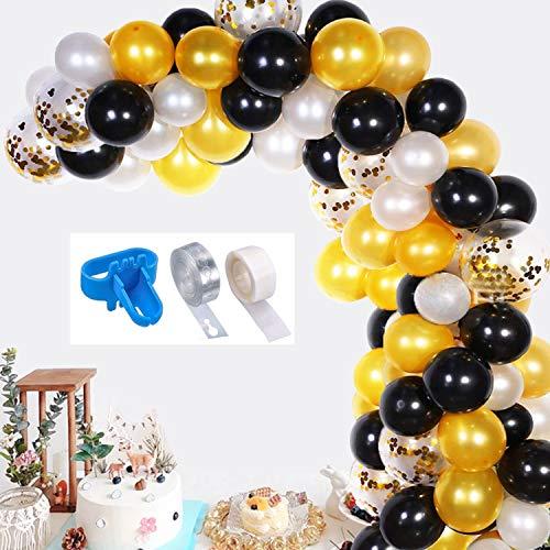 Balloon Garland Kit, 120Pcs Black, White, Gold, Gold Confetti Latex Balloons, Party Balloons Decoration with 100 Dot Glue, 1 Balloon Knot Tool, 1 Balloon Strip Tape for Graduation, Wedding, Birthday