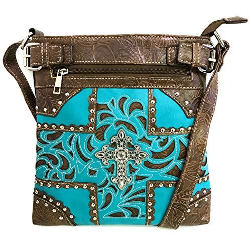 Justin West Western Laser Cut Rhinestone Silver Cross Messenger Handbag with CrossBody Strap (Brown Turquoise)