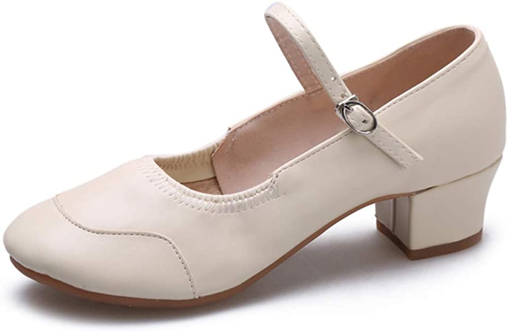 SWDZM Women/Girl Latin Dance Shoes Leather Closed Toe Ballroom Character Salsa Performance Practice Dance Shoes US-YMJ315